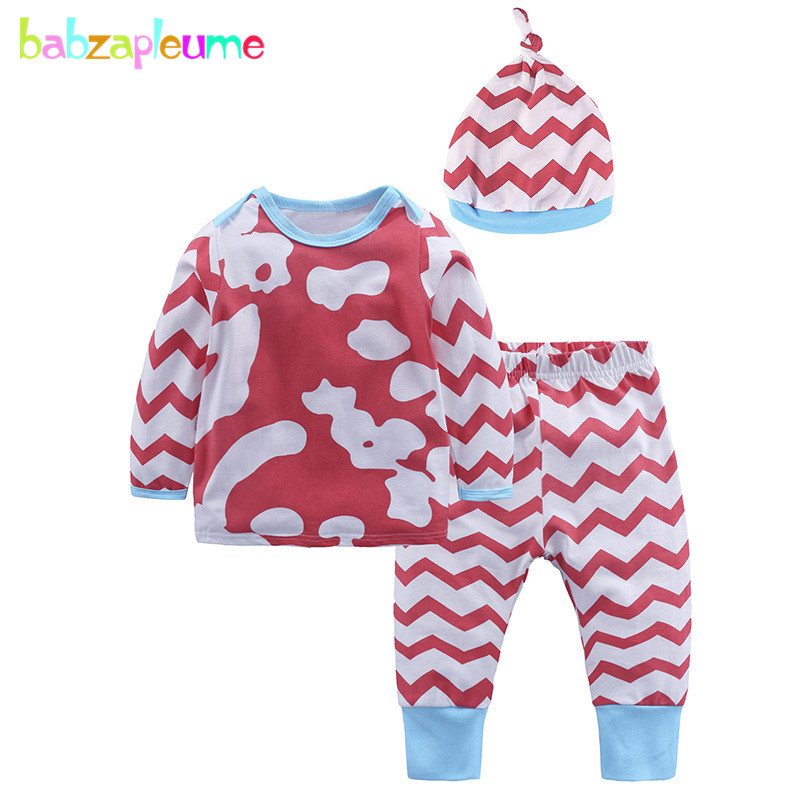 3PCSSpring Newborn Clothing Sets Baby Outfit Girls Clothes Cotton Cute Long Sleeve Top T-shirt+Pants+Hats Kids Tracksuit BC1690