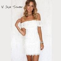 Sexy Off The Shoulder White Lace Dress Women Casual Vestido De Festa Feminino Monos Summer Style