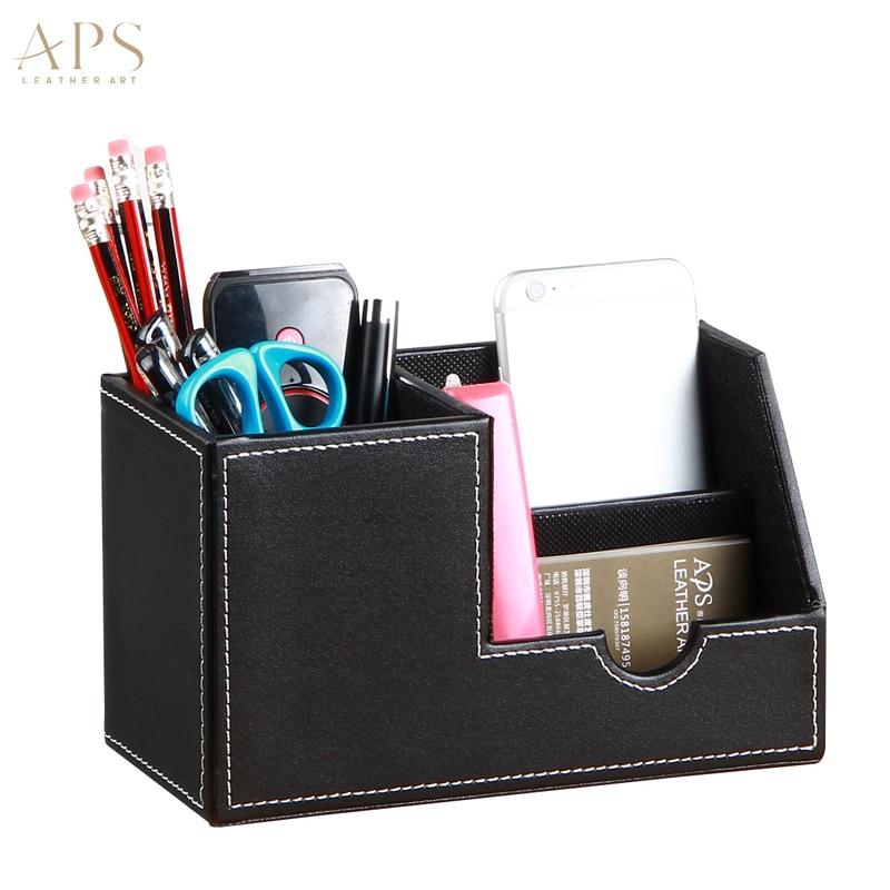 PU Leather Office Desk Multi-function Desk Stationery Organizer Pen Pencil Holder Storage Box Case Container
