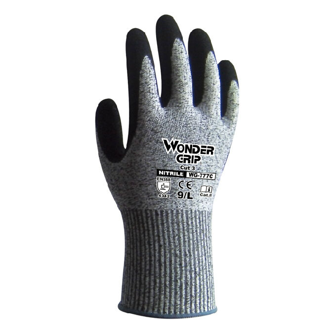 Three Cut-resistant Stab - resistant Work gloves Nitrile rubber Nylon lining Safety gloves Gray Size M-L-XL Top Quality GM1139 oil free comfortable cheap nitrile gloves white nylon knitted hands protection gloves white mechanic construction industry