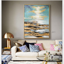 High Quality Abstract oil painting Artist Handpainted stone blue sky Oil Painting on Canvas Handmade gold abstract