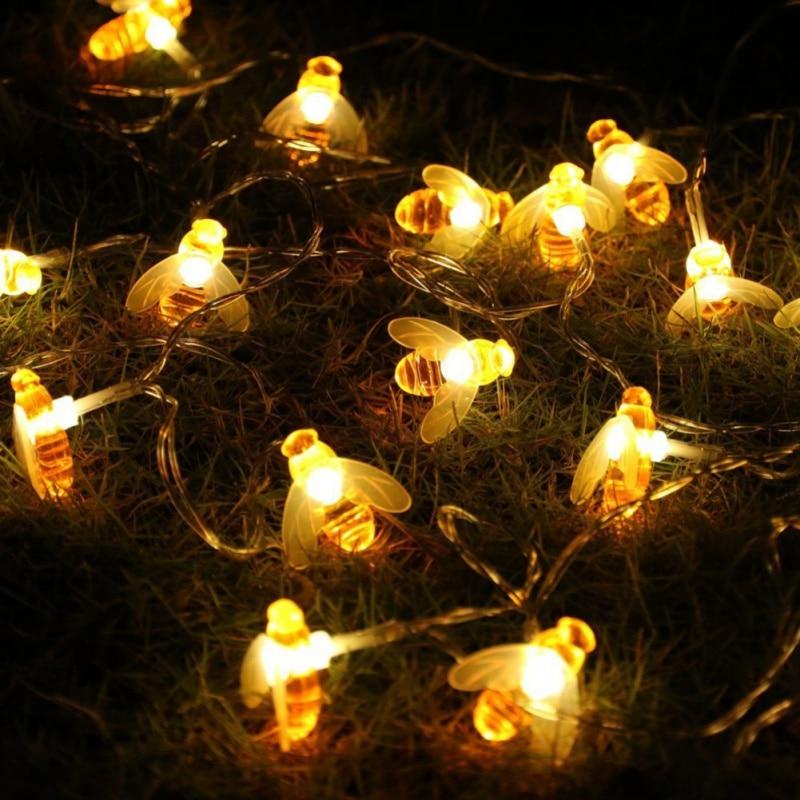 10 и 20 LED Батарея работает bee форме строки для отдыха и вечеринок гирляндой декоративные теплый белый ПВХ Провода строки