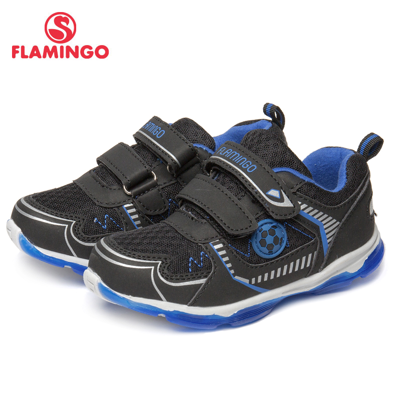 FLAMINGO Brand Breathable Arch Hook& Loop TPR Children Sport Shoes Leather Size 25-30 Kids Sneaker for Boy 81K-BK-0590 flamingo genuine leather insole breathable hook
