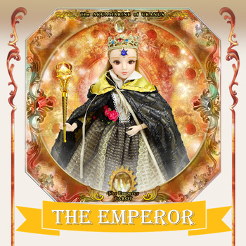 TAROT CARD Major Arcana The emperor joint body doll white skin with crown golden blonde hair 34cm east barbi
