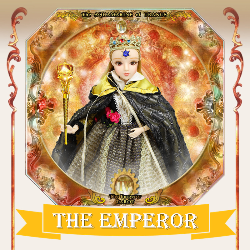 TAROT CARD Major Arcana The emperor joint body doll white skin with crown golden blonde hair 34cm east barbi the classic tarot карты