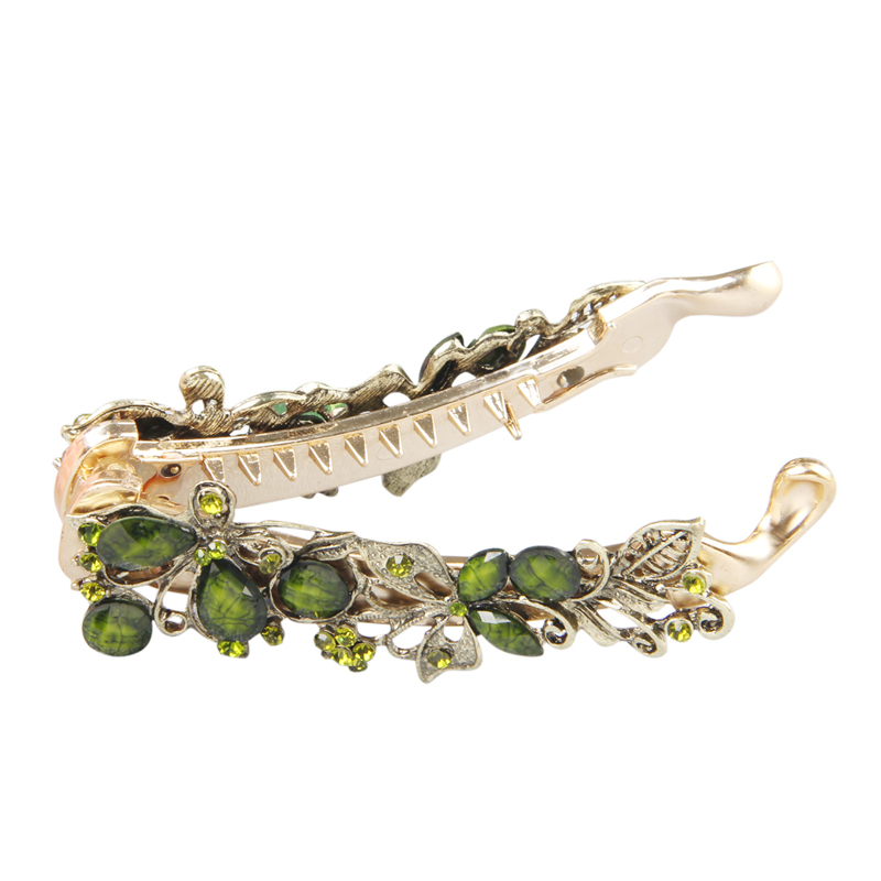 Vintage Women Elegant Emerald Banana Hair Clip Claw Holder Crystal Butterfly Resin Hairpin Flower Ladies Accessories 108x32mm