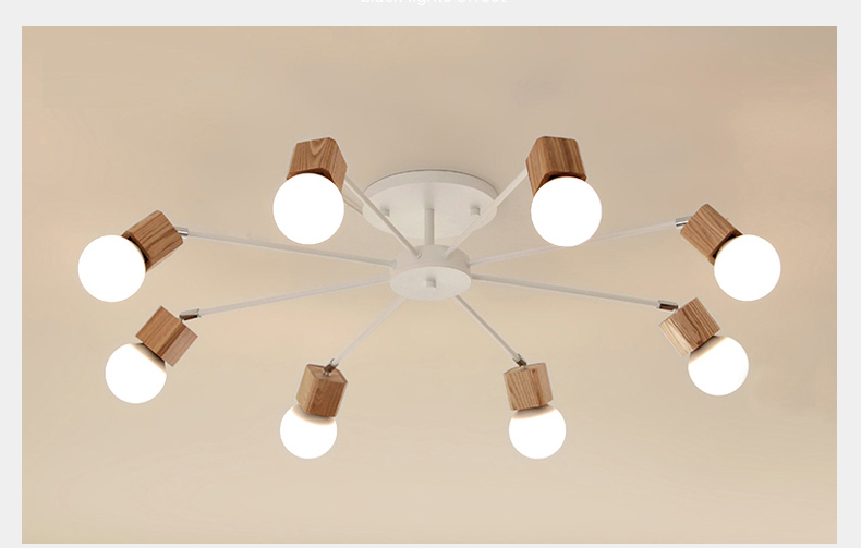 Ceiling Lights Vintage Home Lighting Luminaire Multiple Rod Wrought Iron Ceiling Lamp E27 Bulb