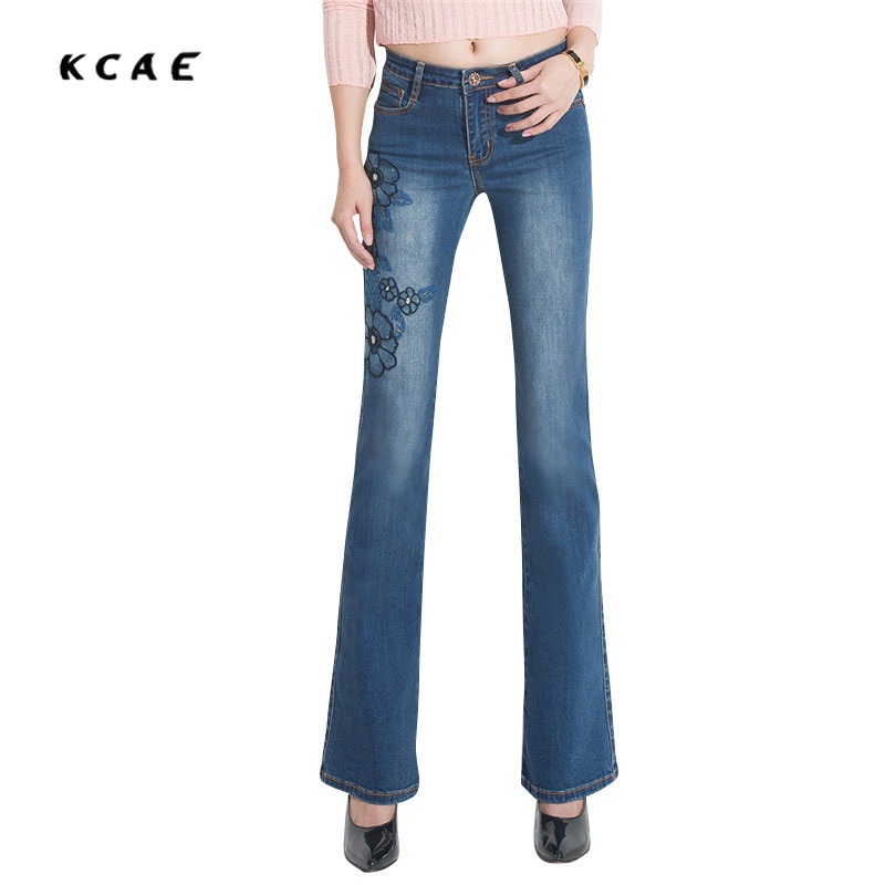 2017 Women Jeans Embroidery High Waist Luxury Denim Pants Manual Embroidered Bell Bottom Stretch Jeans