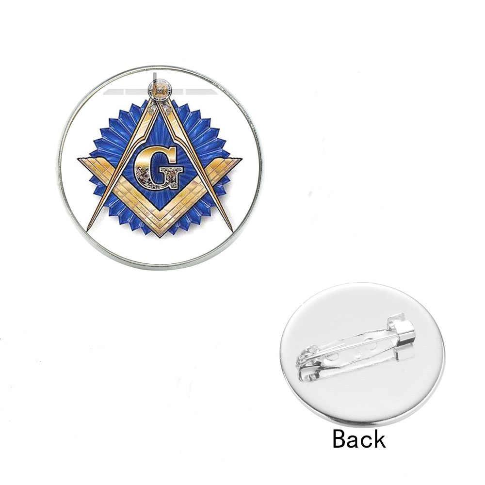 Broche de ojo de pirámide de SIAN Illuminati, Cuadrado de Masonería y brújula, cabujón de cristal de albañil, botón de broche para solapa, regalo para los miembros de Freemason