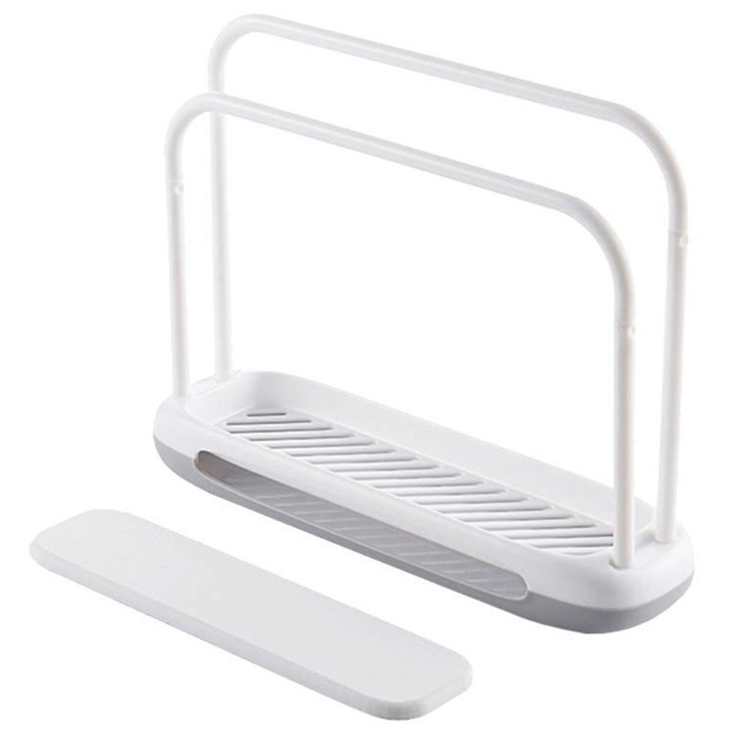 Hot White Detachable Towel Storage Rack Dishcloth Sponge Drying Rack Quick Drying Water Absorbing Double Rod Rag Stand in Towel Racks from Home Improvement