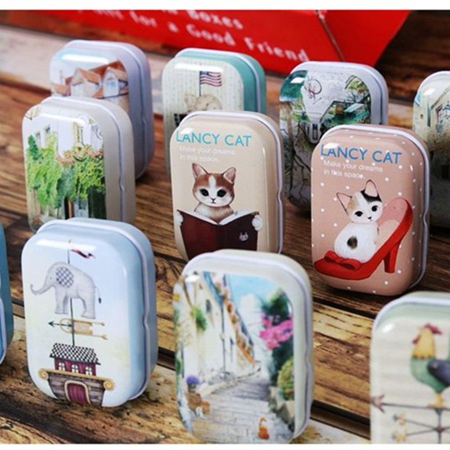 Pure And Fresh Cat Picture Illustration Iron Box 12Pcs Small Capacity Food Container Mac Makeup Cosmetic Jewelry Box Tea Box
