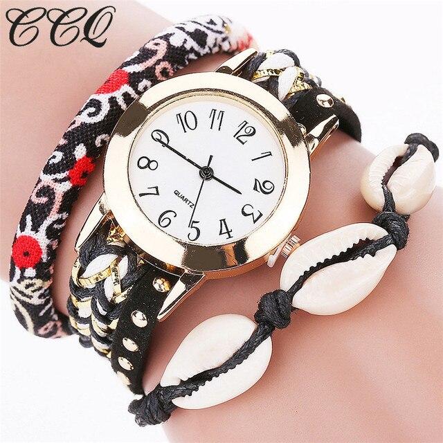 CCQ Brand Fashion Women Bohemian Style Wrist Watch Casual Leather Bracelet Watch