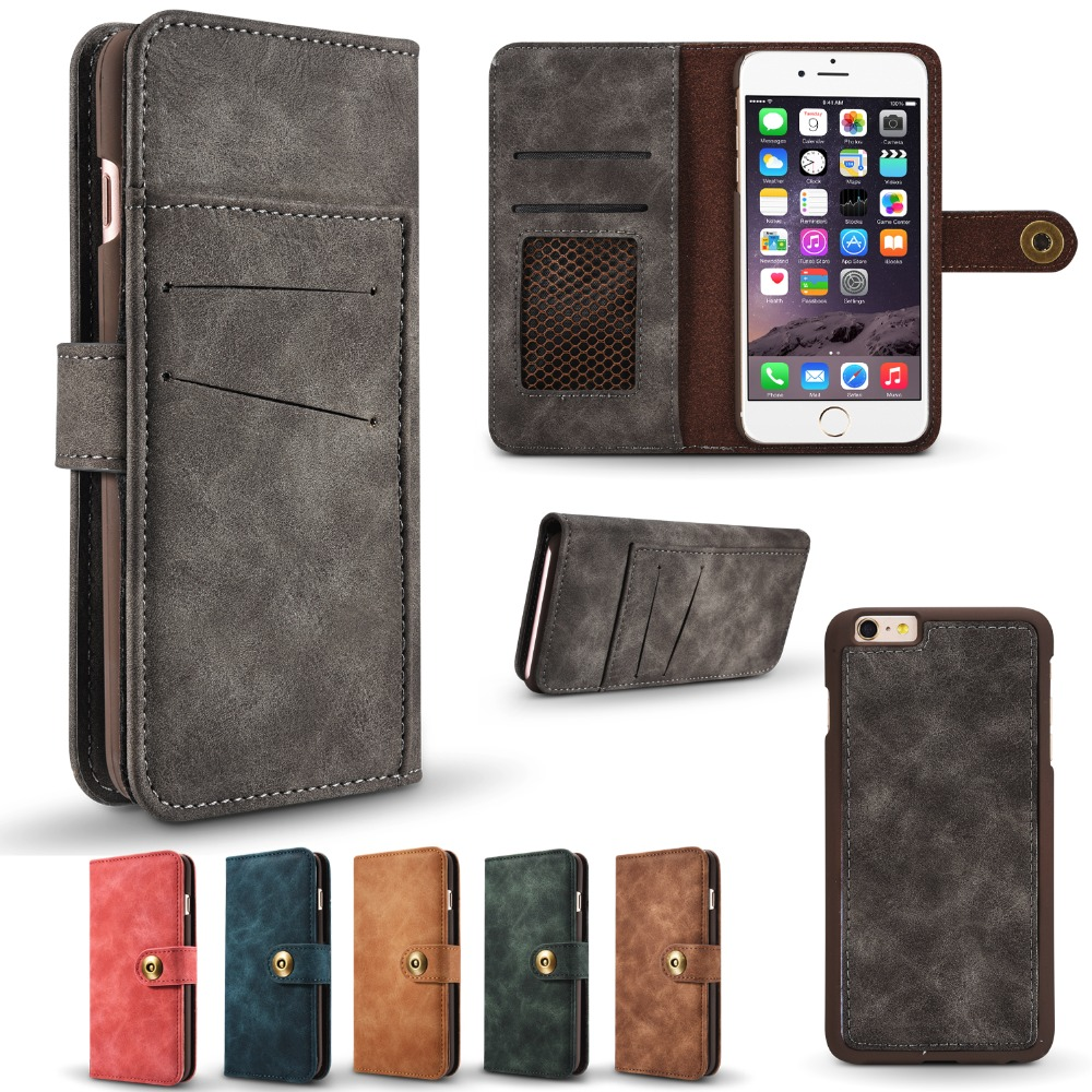 DAXING 2 in 1 Wallet Detachable Phone Bags For iPhone 6 6S Wallet Cover Flip Coque With Card Holders i Phone Bag Cases for 6s