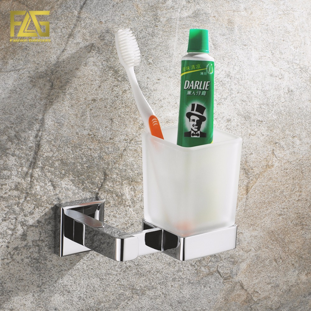 FLG Wall Mounted Square Cup & Tumbler Holders Chrome Polished Glass Cups Toothbrush Holder Bathroom Accessories Banheiro 85206 toothbrush holder wall mounted square base 304 stainless steel and copper toothbrush holders with glass cups polished chrome