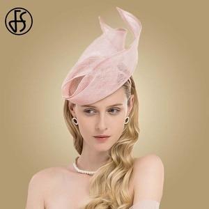 Image 3 - FS Fascinator Pink Ladies Hat For Wedding Women Elegant Kentucky Derby Hats Black Sinamay Church Linen Fedoras Chapeau Femme