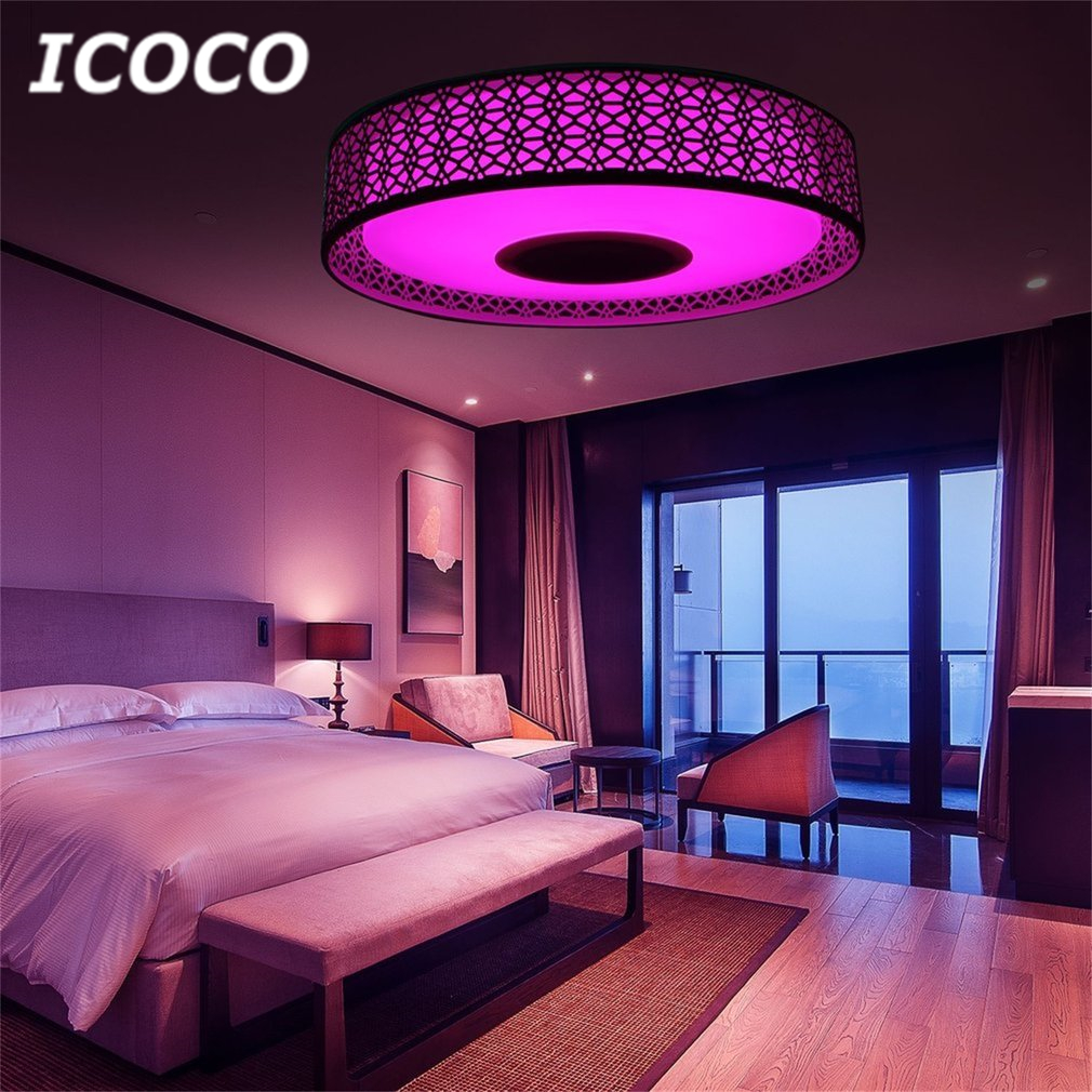 ICOCO Smart Music LED Ceiling Light Bluetooth 4.0 Control Music & Color Changing Surface Mounted Lamp with Timer APP Control