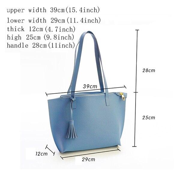 Solid Women's Tote Bag PU Leather Women Handbag Large Capacity Tassel Handbags Fashion Shoulder Bag 2