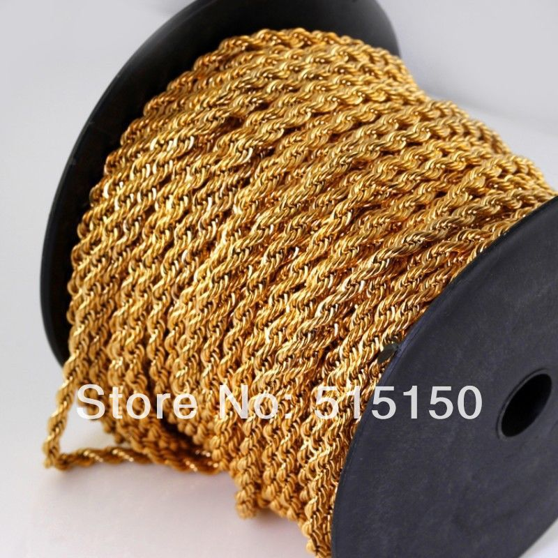 High Quality 100 meters lot Fashion 18K font b Gold b font plated Stainless Steel 4mm