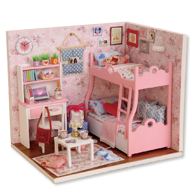 1:24 Casas de muñecas Casa de muñeca de DIY  de madera miniatura dollhouse muebles Kit juguetes para niños miniatura dormitorio princesa
