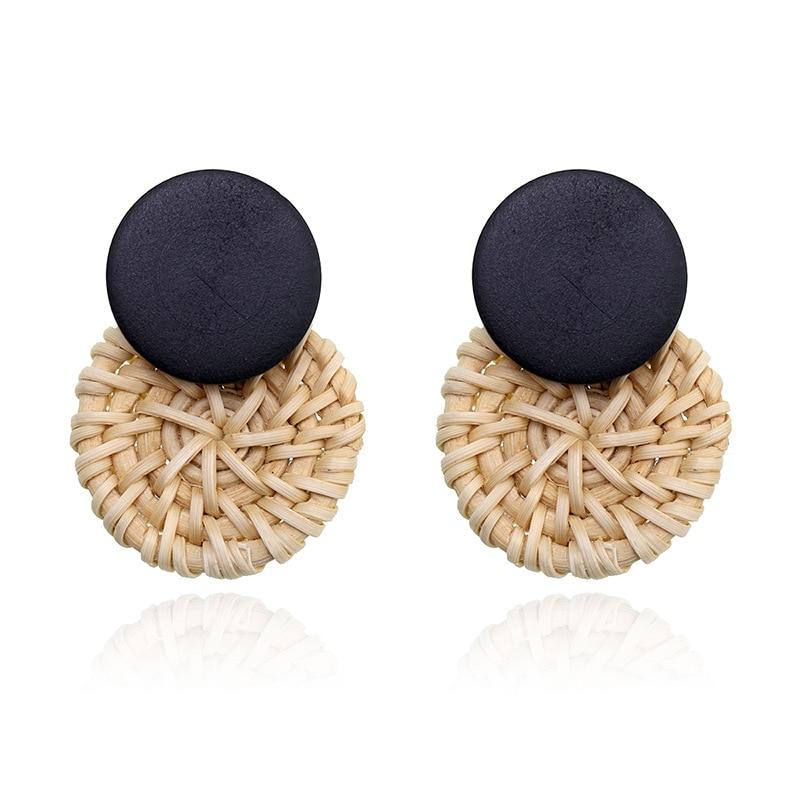 New Korea Handmade Wooden Straw Weave Rattan Vine Braid Geometric Big Circle Earrings For Women Girl