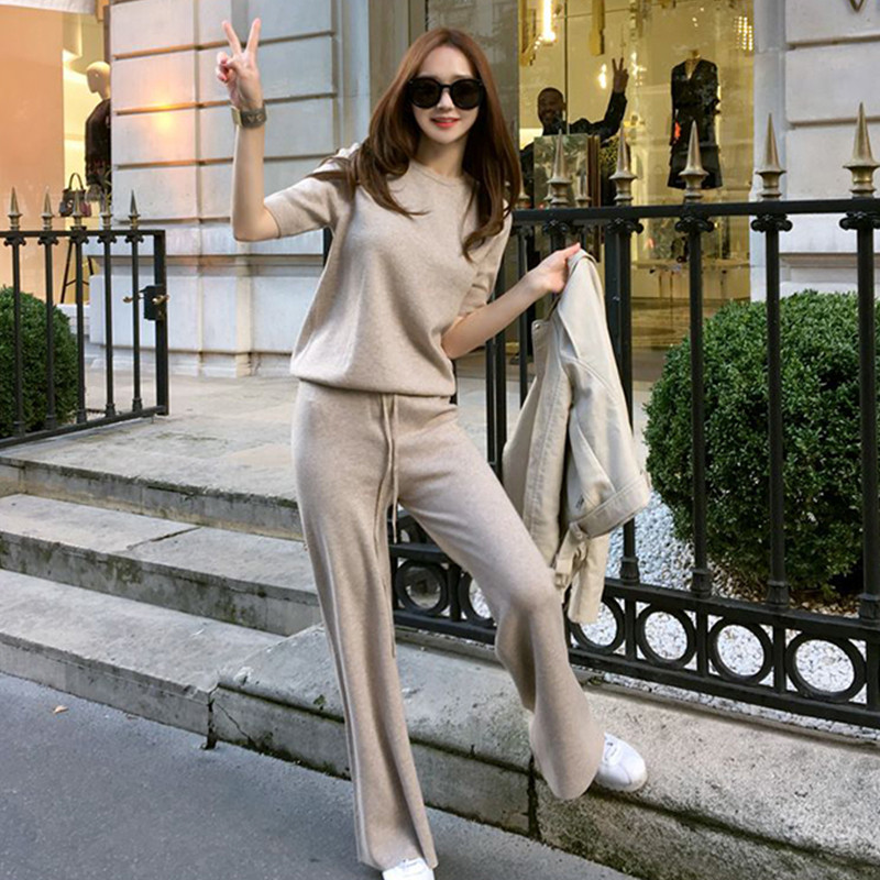 Autumn Spring Knitted Tracksuit  Sweatshirts Casual Suit Women Clothing 2 Piece Set Knit Pant Sporting Pants Set Suit
