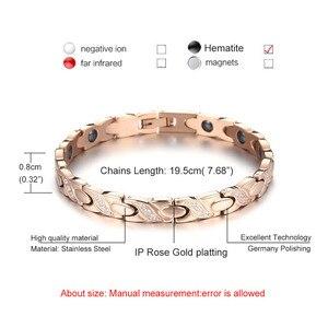 Image 3 - NHGBFT pulsera de acero inoxidable de Color dorado para hombre y mujer, brazalete de cristal negro con movimiento saludable, Color rosa nuevo