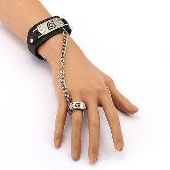 415731132c41 MS joyería pulsera de cuero NARUTO Anime enlace pulseras Cosplay Punk brazalete  hombres mujeres