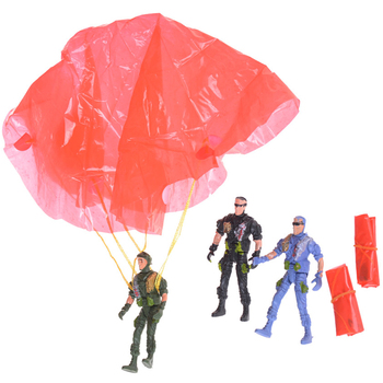 1 pcs Paratroopers Parachute soldiers Small Miniatures Military figures Model Kits kid's Toy Model 9cm image