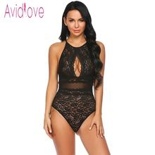 Halter Keyhole Backless Floral Lace One Piece Bodysuit