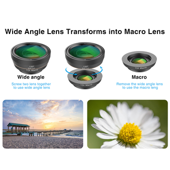 APEXEL Universal 6 in 1 Phone Camera Lens Fish Eye Lens Wide Angle macro Lens CPL/Star Filter 2X tele for almost all smartphones 1