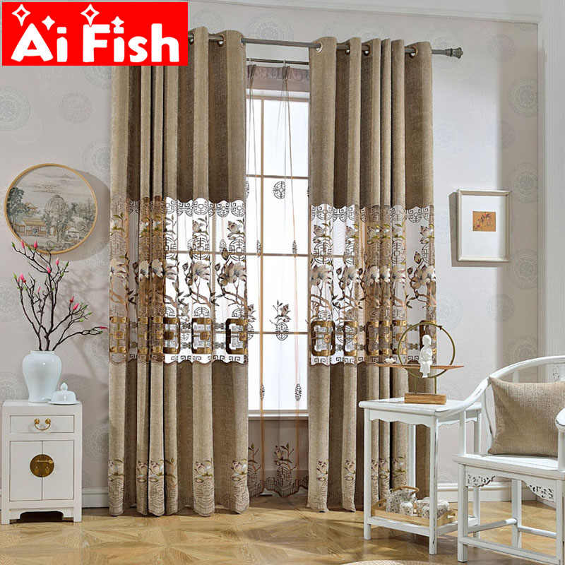 Modern Classic Retro Chinese Style Hollow Semi-shade Curtains For Living Room Coffee Embroidered Elegant Tulle Drapes DF035-30