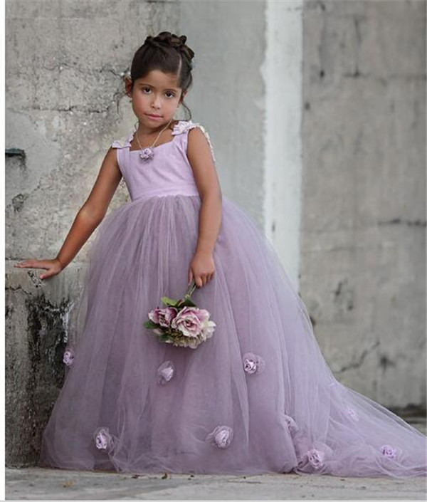 Puffy New Lavender Flower Girl Dress Princess Girls Pageant Gowns Flower Royal Train for Weddings Custom Any SizePuffy New Lavender Flower Girl Dress Princess Girls Pageant Gowns Flower Royal Train for Weddings Custom Any Size