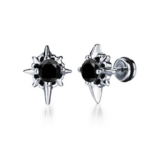 Stainless Steel Cross Design Mans Stud Earring Fashion 316L Punk Style Cubic Zirconia Mens Vintage Jewelry