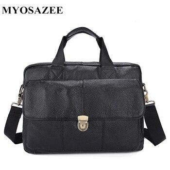 MYOSAZEE Men Bag Men's Handbag Shoulder Bag Soft Cow Leather Genuine Leather Briefcase 2018 genuine cow leather men