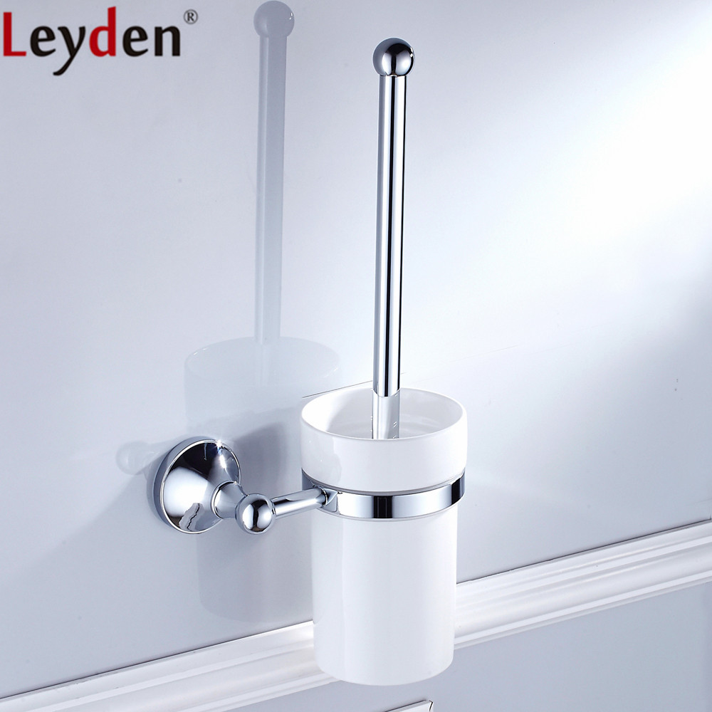 Leyden Chrome Brass Durable Antirust Toilet Brush Holder With Creamic Cup  WC Toilet Lavatory Bathroom Accessories