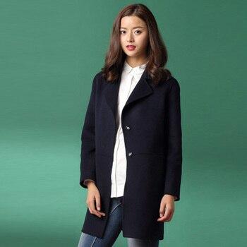 93969793cf4 Las mujeres de Cachemira mezcla de lana Camel abrigo de invierno primavera  otoño chaquetas largas Outwear
