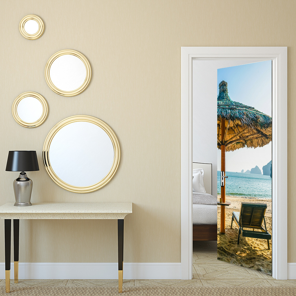 Sea Beach Sun Umbrella Deck Chair 2 pcs/set 3D PVC Wall Stickers Door Sticker Decal DIY Mural Decoration Bedroom Poster