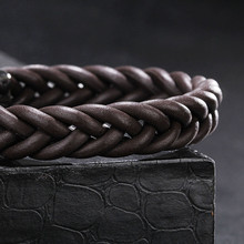 Braided Genuine Leather Stainless Steel Bracelet