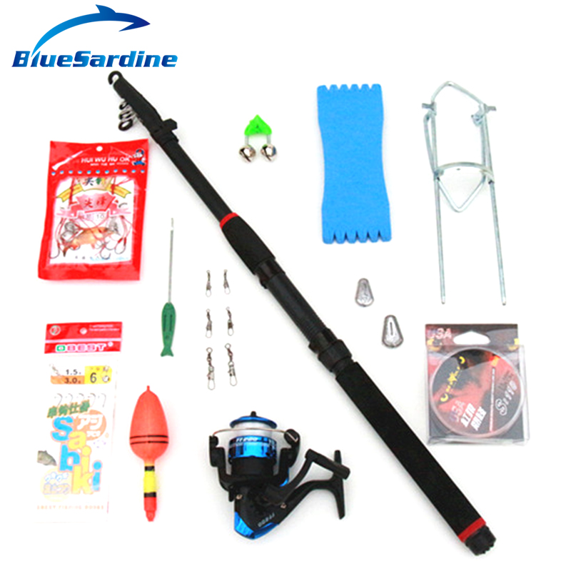 Bluesardine telescopic fishing rod combo 13 accessories for Fishing rod accessories