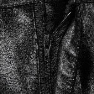 Image 5 - women Winter midi skirt 2019 spring womens high waist PU leather skirt faldas vintage saias plus size M 4XL