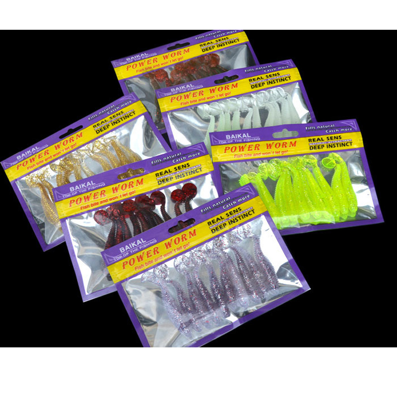 Soft Bait Fishing Lure T Tail Boot Screw 7cm/3g for Texas Rig Artificial Lures Lot 10 Pieces