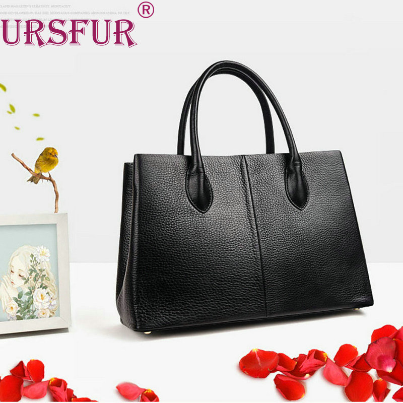 ФОТО URSFUR 2017 New Arrival Fashion Genuine Leather Woman Handbags Top-Handle Shell Bags Totes Vintage Bag For Women Shoulder Bags