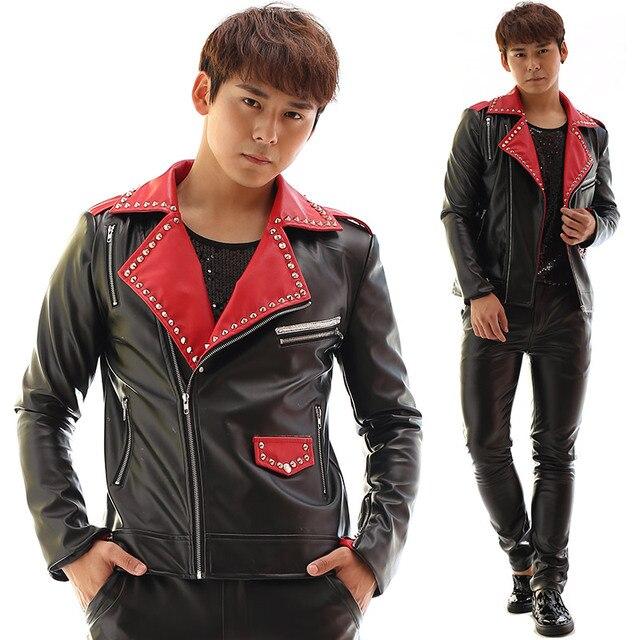 32045d5a7d8 Personalizado cantante motocicleta hombres chaqueta de cuero delgada capa  chaquetas oblique zipper remaches patchwork calle etapa