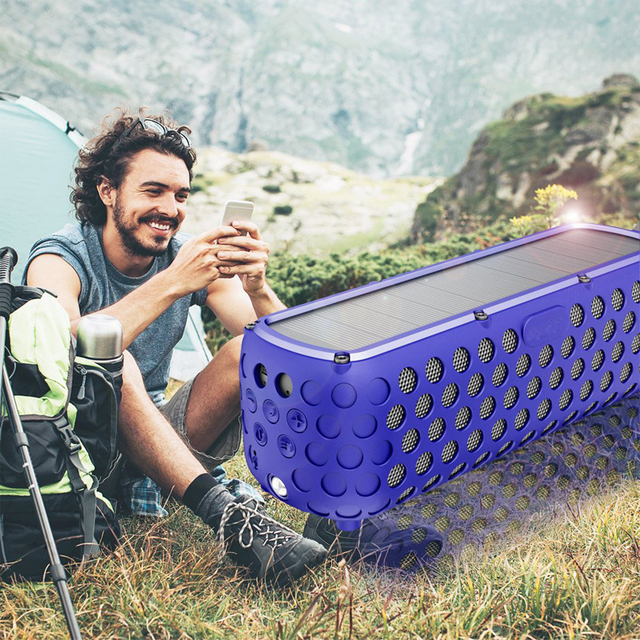 Portable IPX5 Waterproof Solar Bluetooth Speaker with LED light and Built in Mic Compatible for iPhone Samsung and Smart Devices