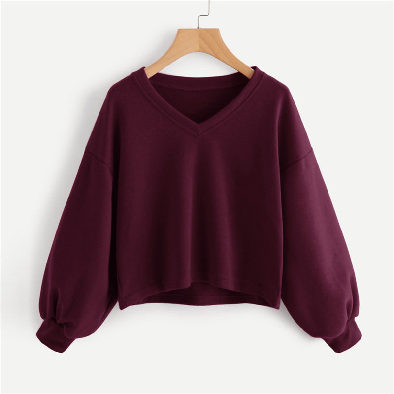 Fashion Women Solid Casual Drop Shoulder Lantern Sleeve Sweatshirt Pullover Tops Autumn Ladies Casual Loose V Neck Simple Tops40