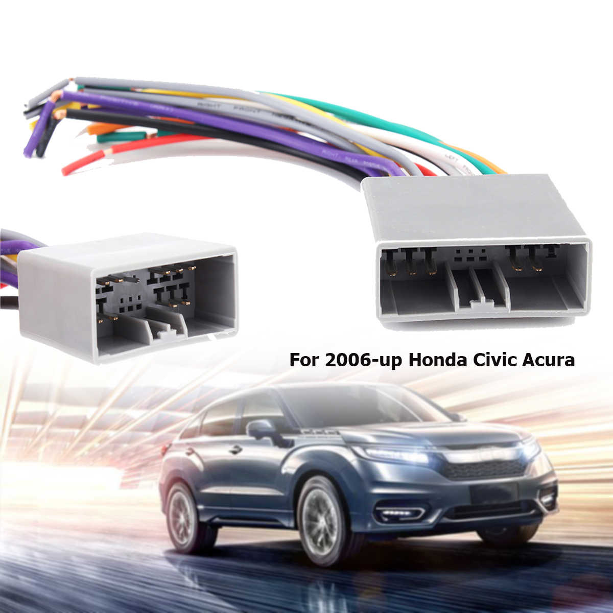 hight resolution of car aftermarket radio stereo wire harness plug for honda 2006 up for civic for acura