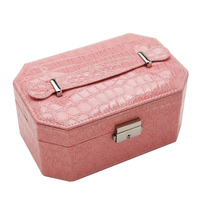 Lockable Jewelry Box Dual Layer Travel Cosmetics Makeup Organizer Case With Lock And Mirror Gift For