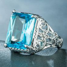 Big Acid Blue CZ Zircon Stone Vintage Silver Rings for Women Fashion Wedding Engagement Jewelry Ring Size 6 7 8 9 10
