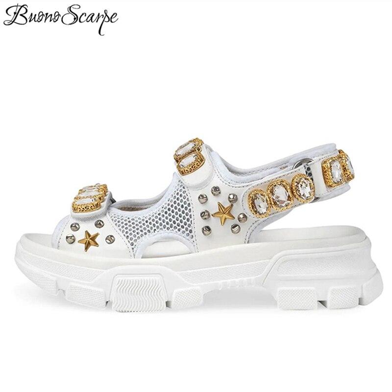 Las mujeres de tela de malla de Peep Toe de fondo grueso zapatos de verano Zapatos de cristal remaches decoración plataforma Sandalias planas sandalias casuales para las mujeres-in Sandalias de mujer from zapatos    1