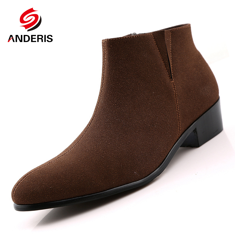Men High Top shoes Pointed Toe Suede Genuine Leather Ankle boots Men s Ship on Wedding
